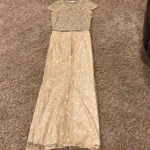 Sexy shimmery gold two piece dress